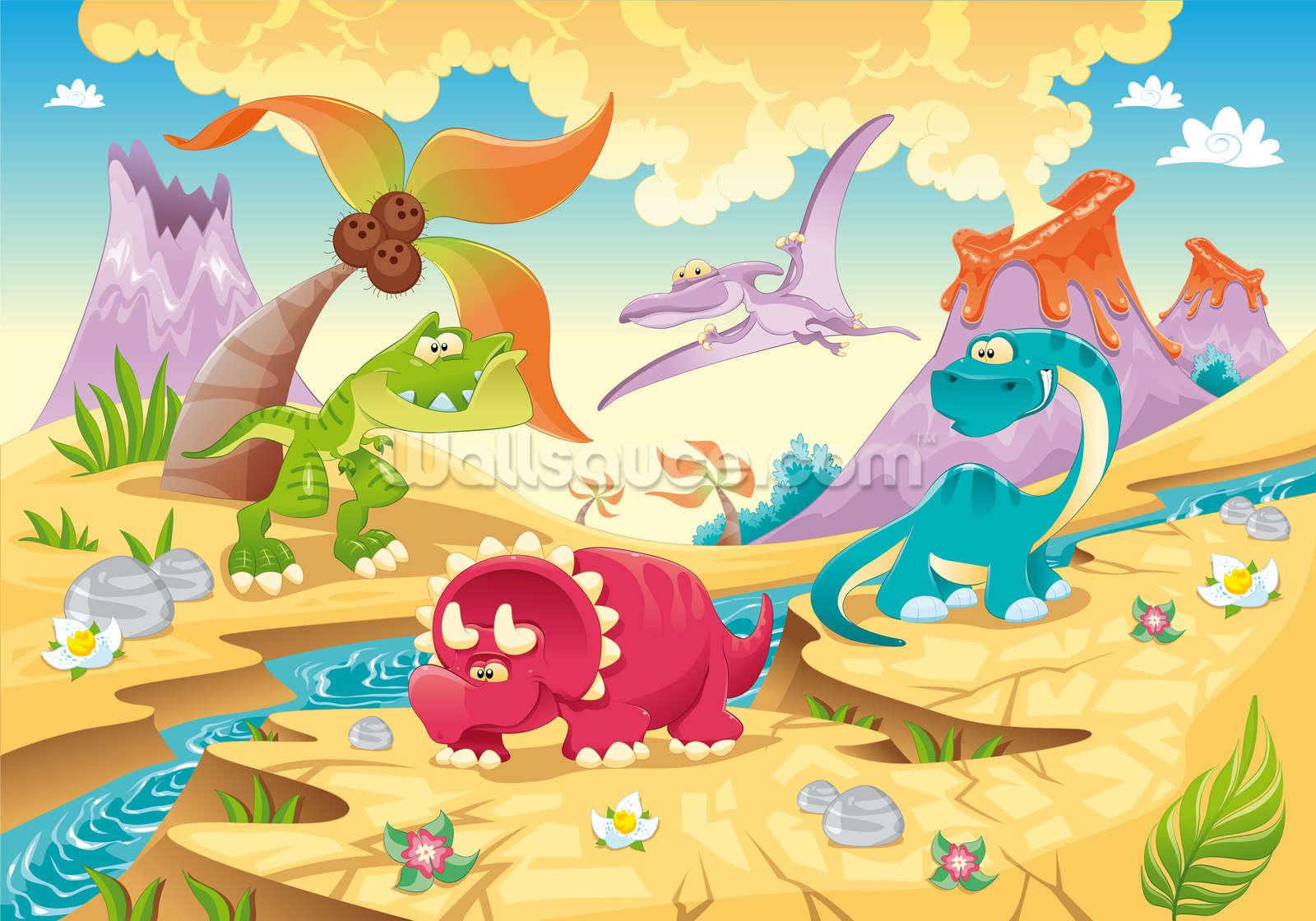 dinosaurs cartoon wallpaper wall mural wallsauce usa childrens wallpaper cartoon rainbow wall mural