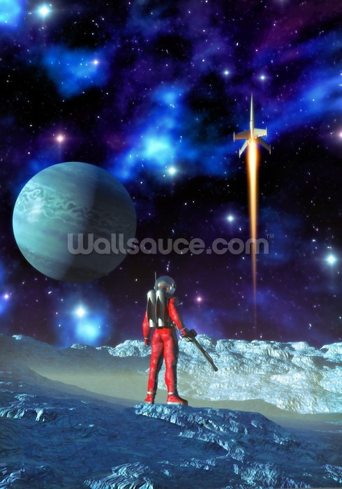 Astronaut and alien planet wallpaper wall mural wallsauce for Astronaut wall mural