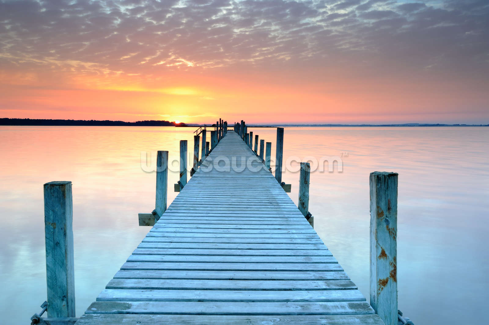 Sunset Jetty Wall Mural Wallpaper