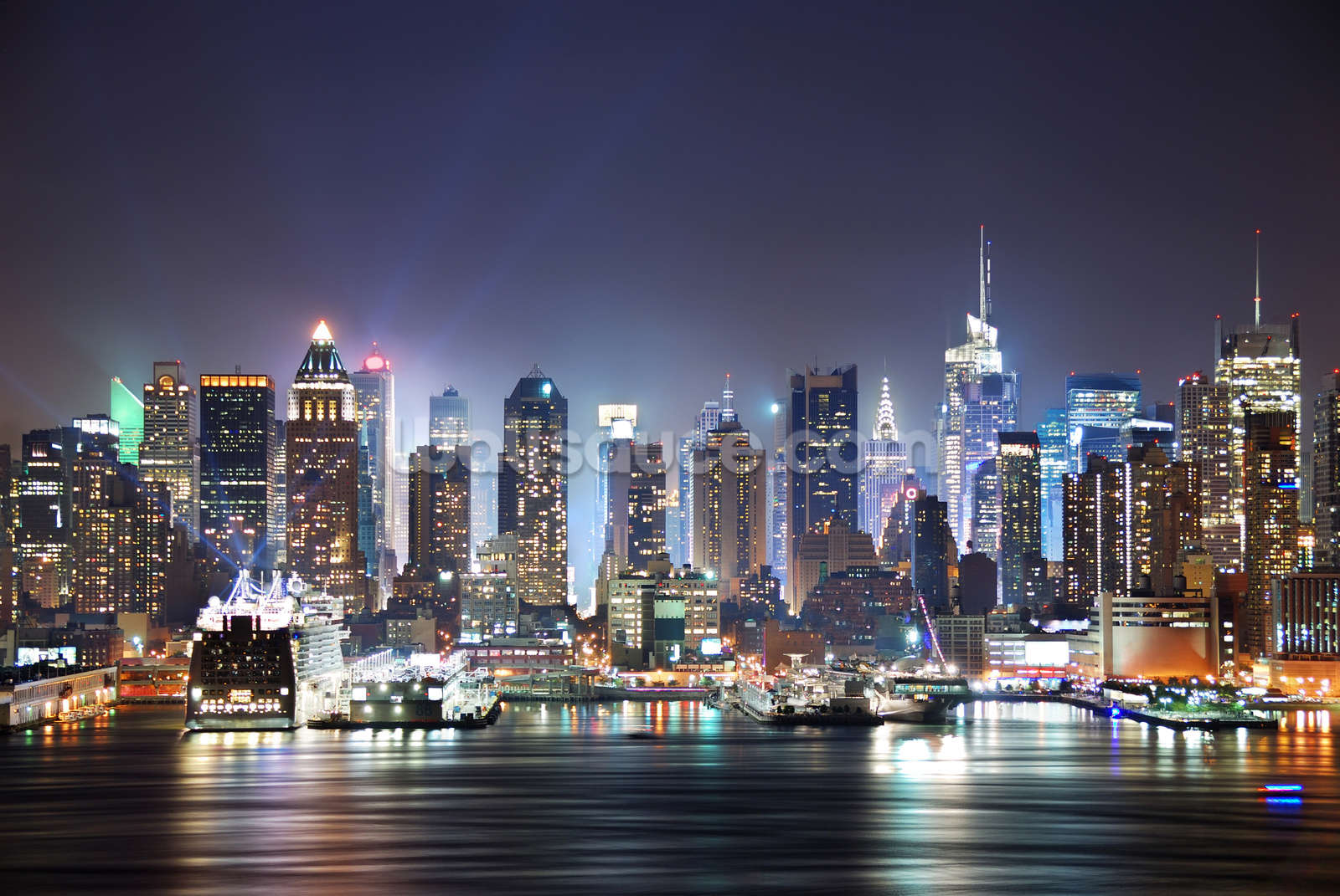 New York Manhattan Skyline At Night Wallpaper Wall Mural ... Part 51