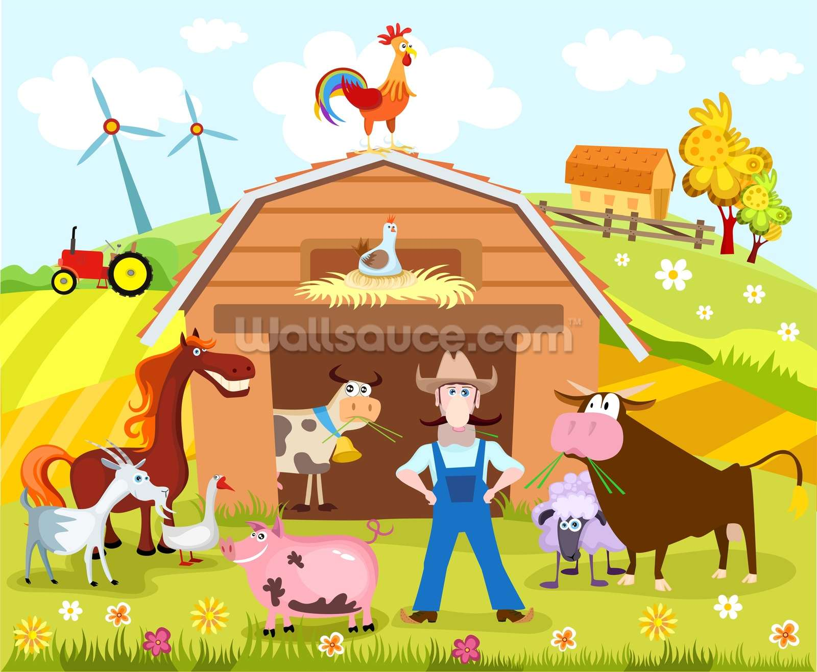 Farm wallpaper wall mural wallsauce germany for Barnyard wall mural