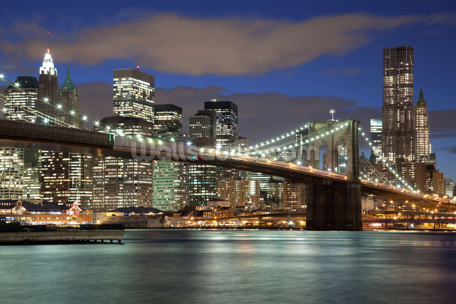 Ny brooklyn bridge wallpaper wall mural wallsauce for Brooklyn bridge mural wallpaper