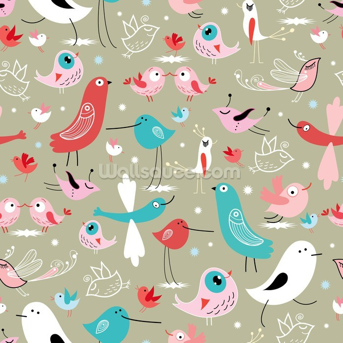 Funny birds wallpaper wall mural wallsauce for Bird mural wallpaper