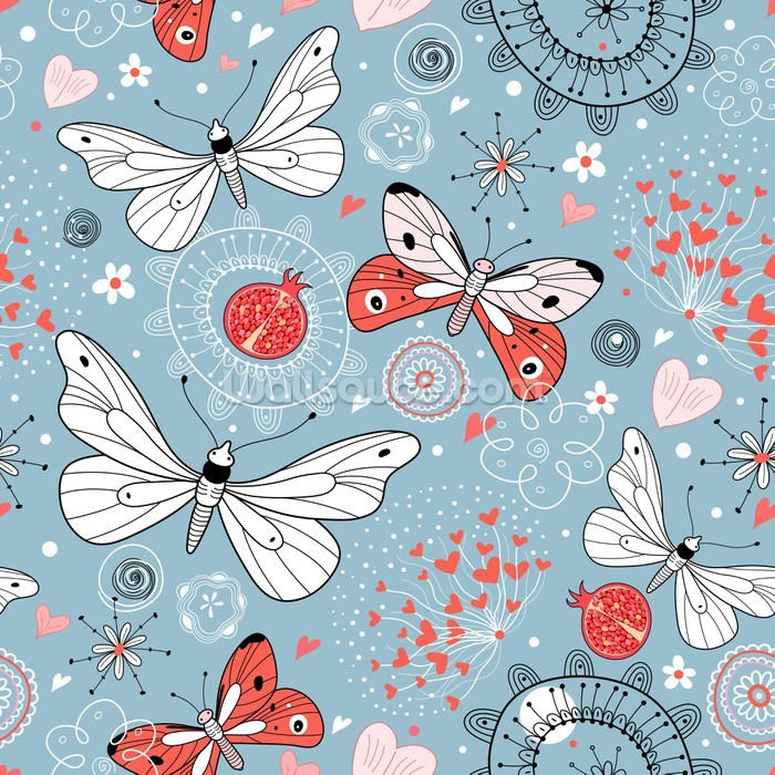 Butterflies wallpaper wall mural wallsauce norway for Butterfly mural wallpaper