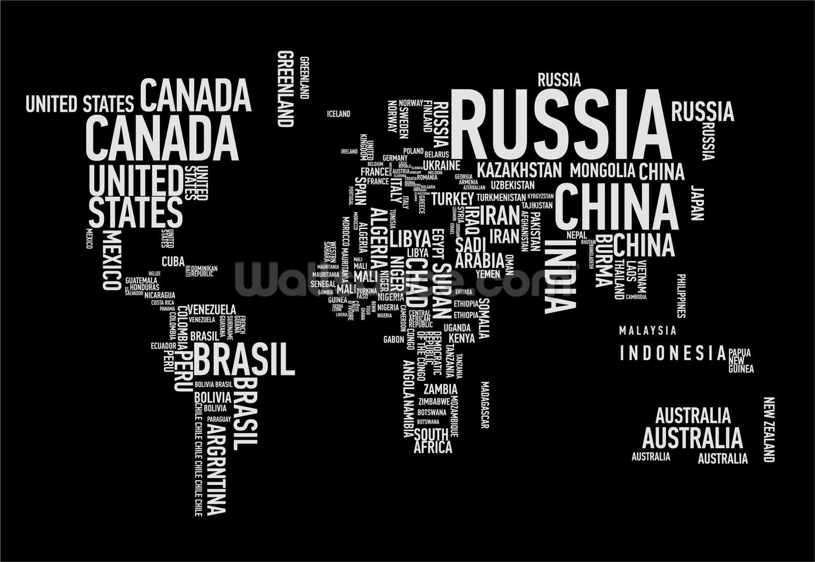 Word Cloud World Map Wallpaper Wall Mural Wallsauce Canada