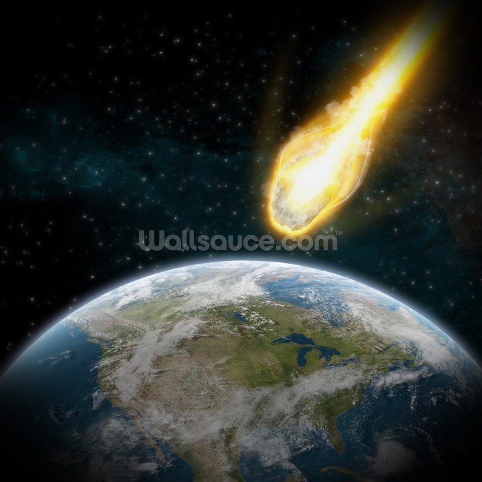 asteroid and earth wallpaper wall mural wallsauce