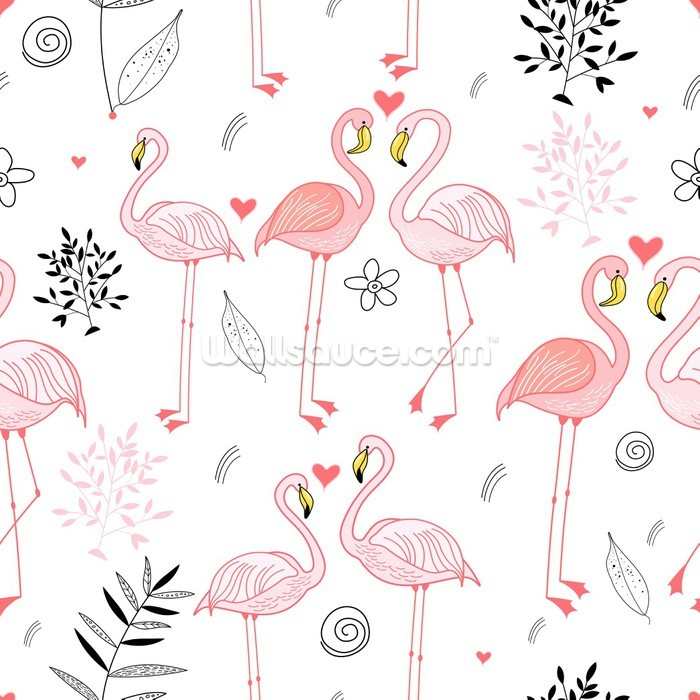 Pink Flamingos Wallpaper Mural