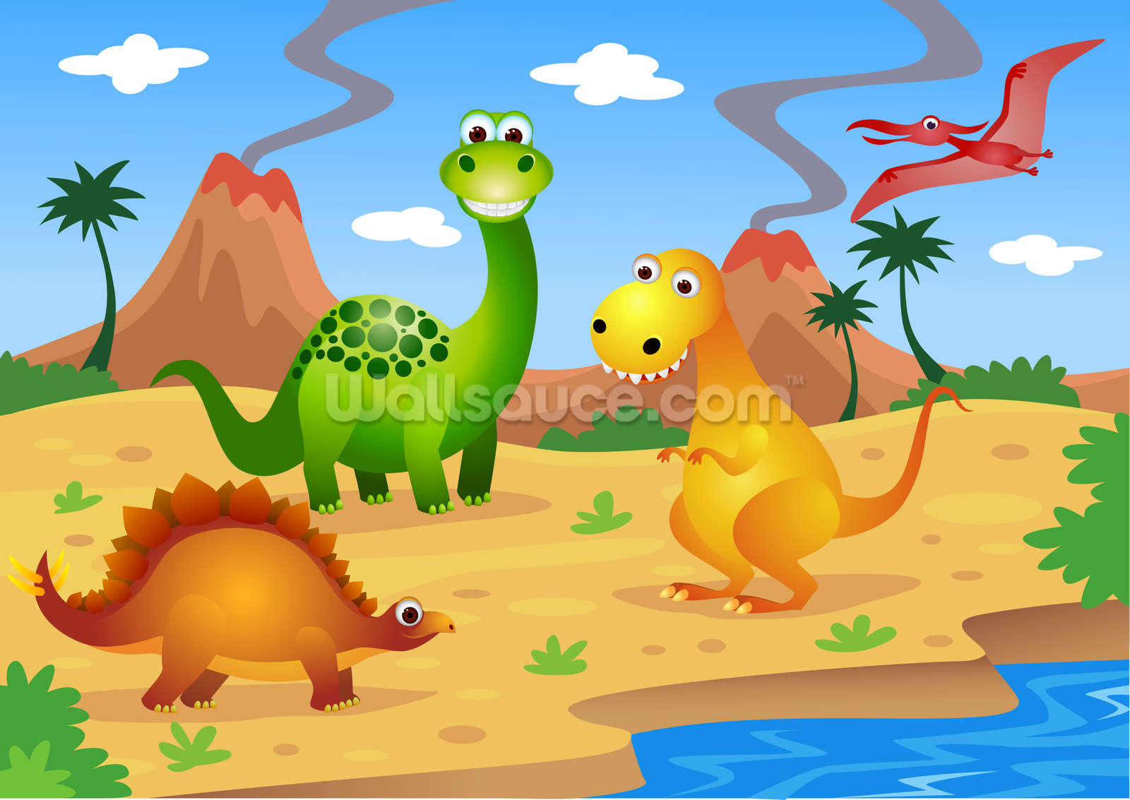 Fun Dinosaurs Wallpaper Wall Mural Wallsauce Usa