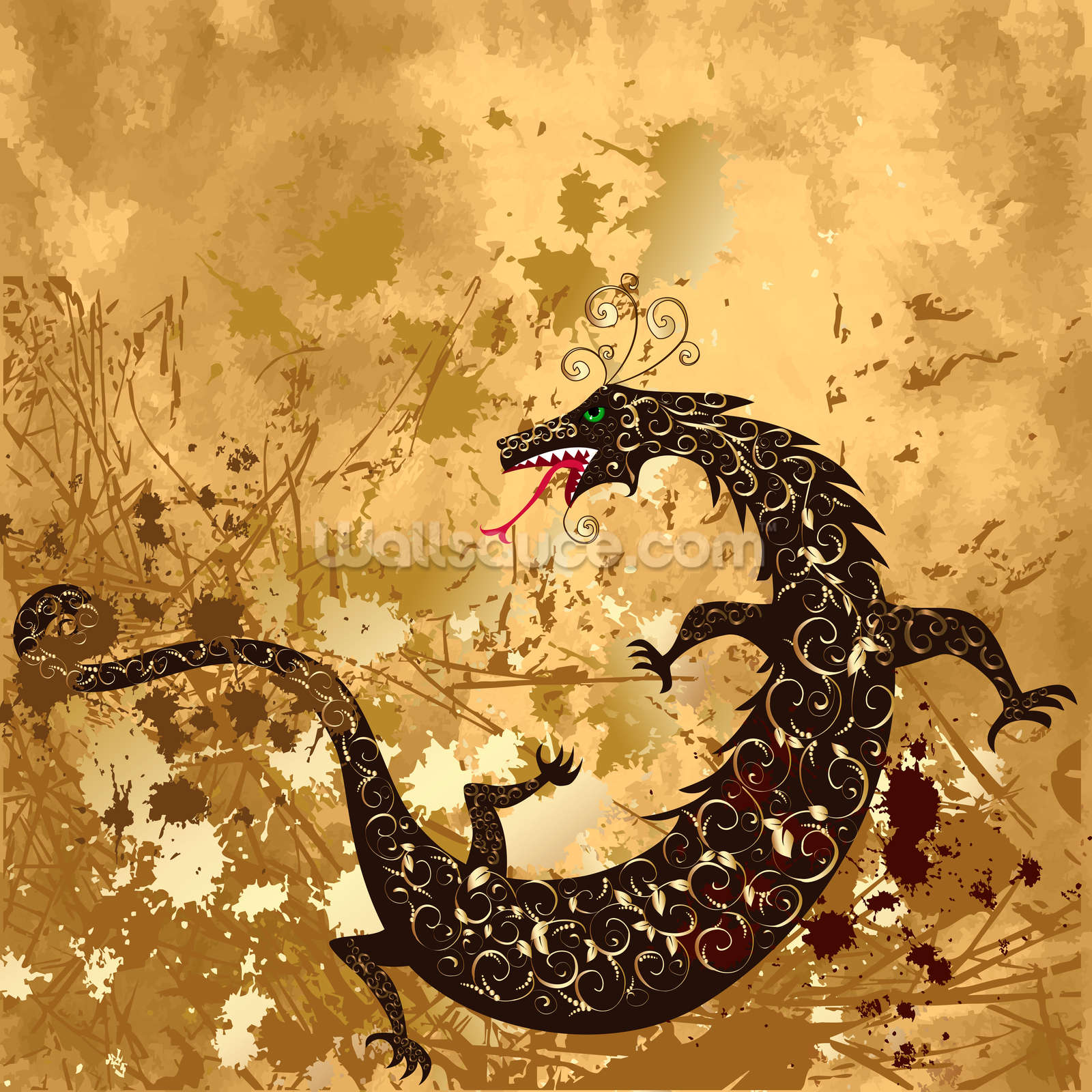 Dragon on a background grunge wallpaper wall mural for Dragon mural wallpaper