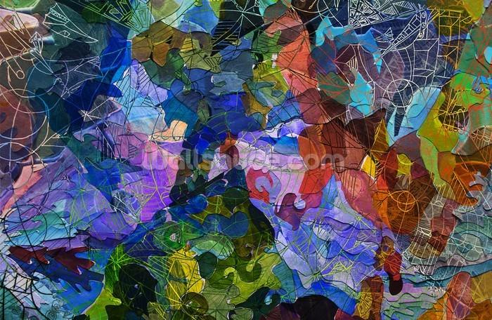 Abstract blue wallpaper wall mural wallsauce for Abstract mural wallpaper