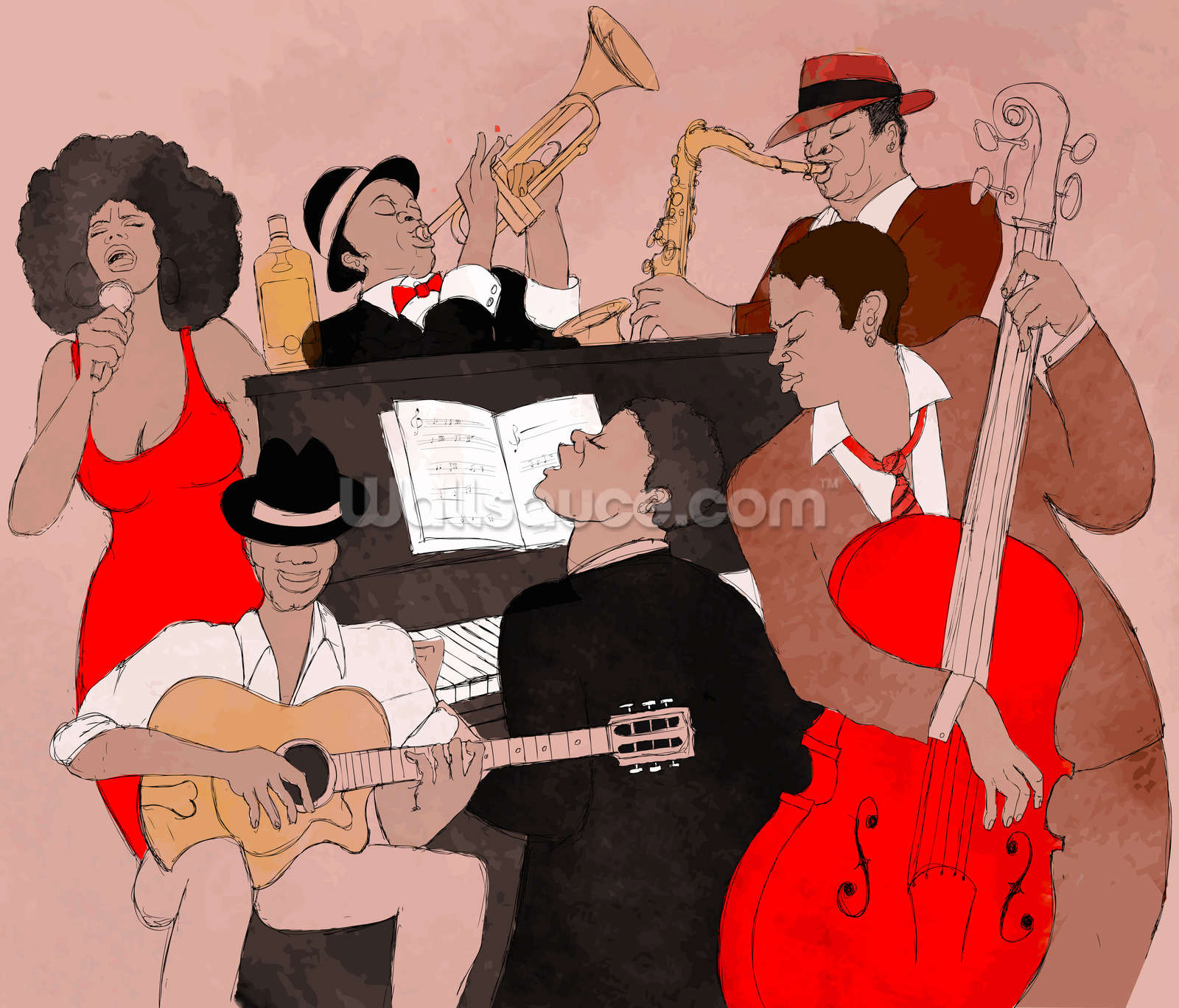 Funky Jazz Band Wallpaper Wall Mural  Wallsauce UK