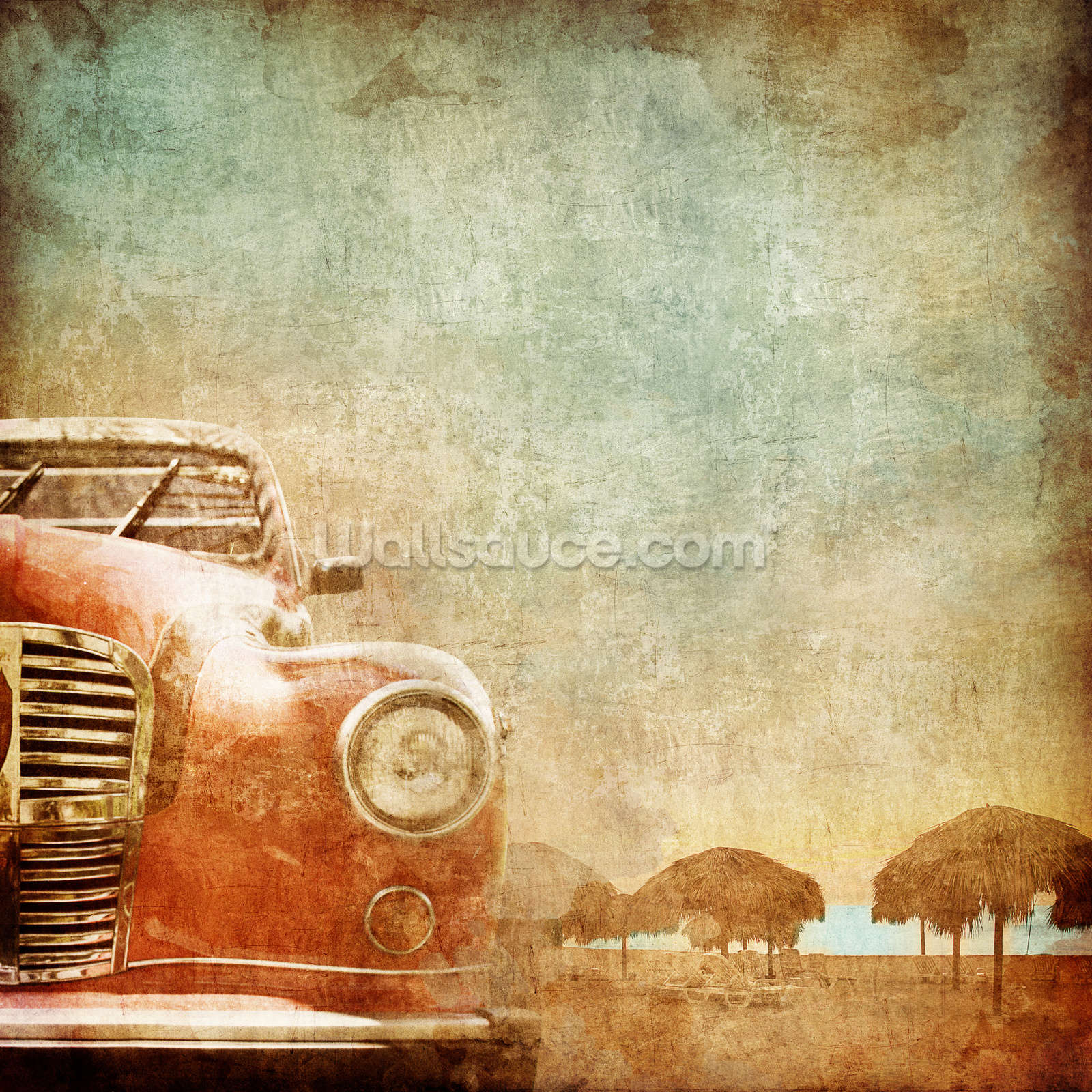 Vintage car wallpaper wall mural wallsauce usa for Antique wallpaper mural