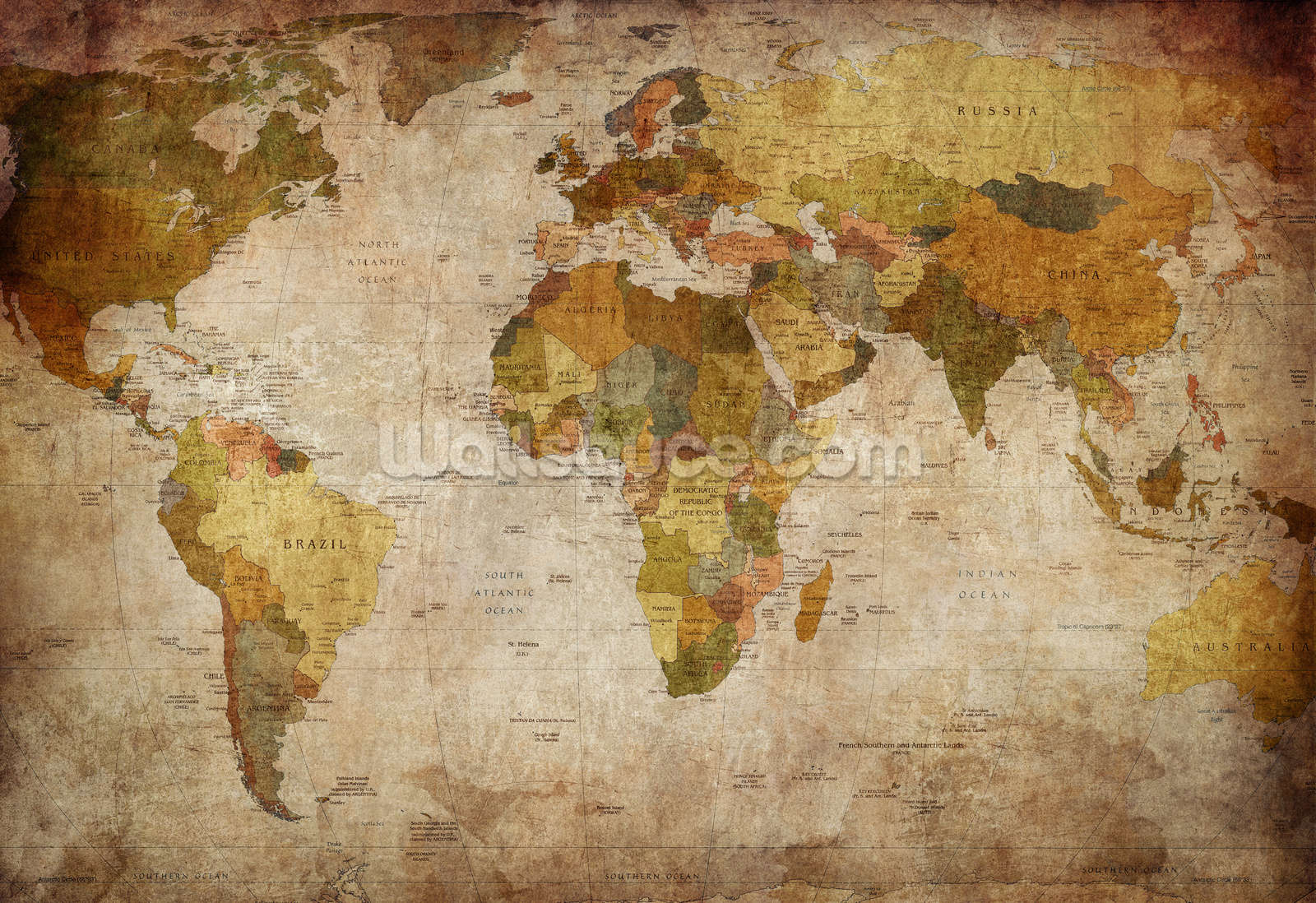 Old Style World Map Wallpaper Mural | Wallsauce UK