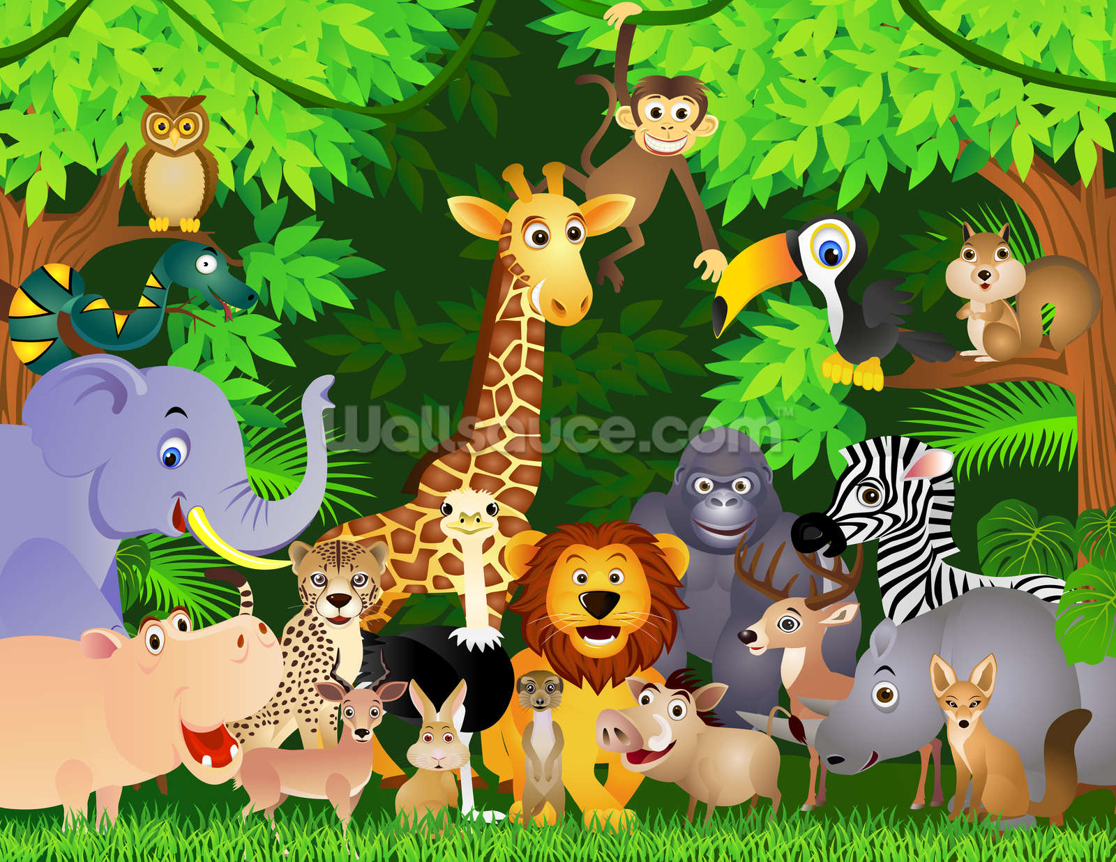 Animals In The Jungle Wallpaper Mural Wallsauce Us
