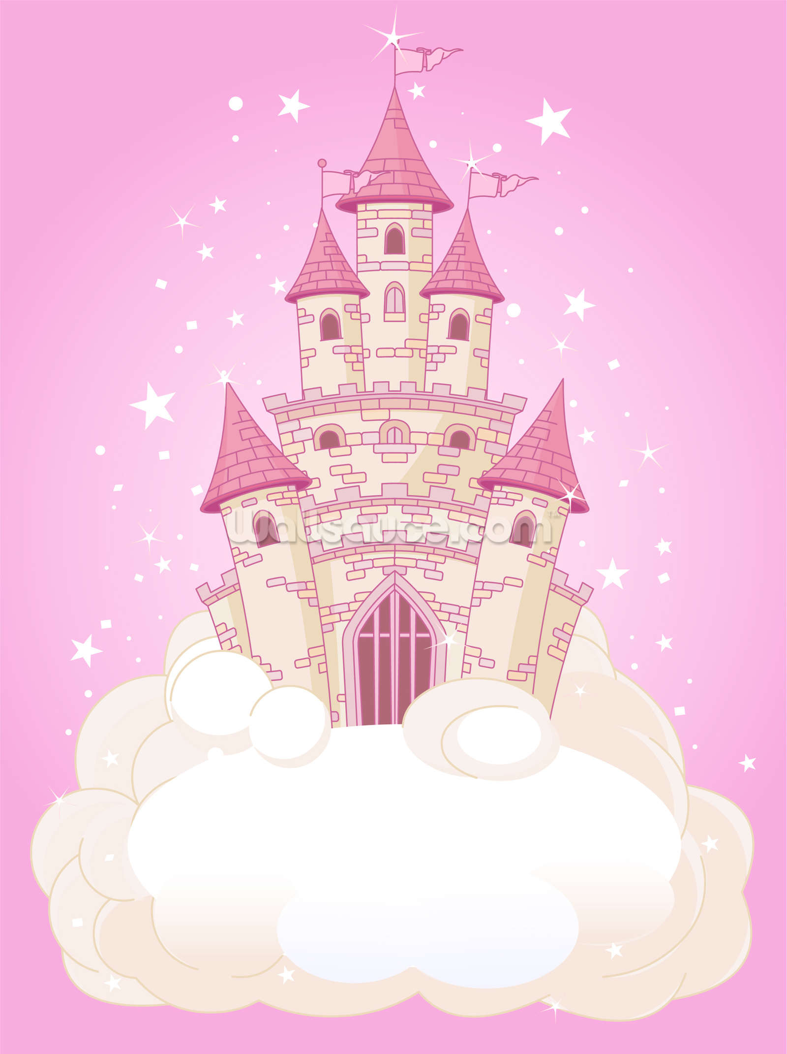 Fairy castle wallpaper wall mural wallsauce for Fairy castle mural