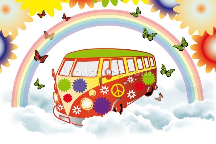 Vw Camper Flower Power Wallpaper Mural Wallsauce Ca