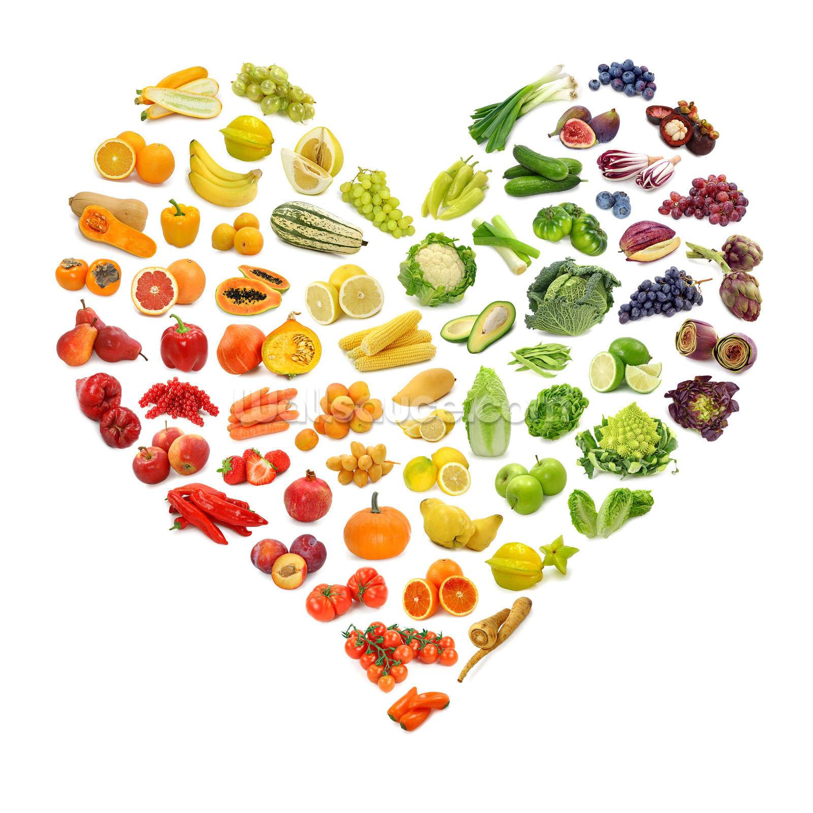 heart shape of fruits and veg wallpaper wall mural wallsauce