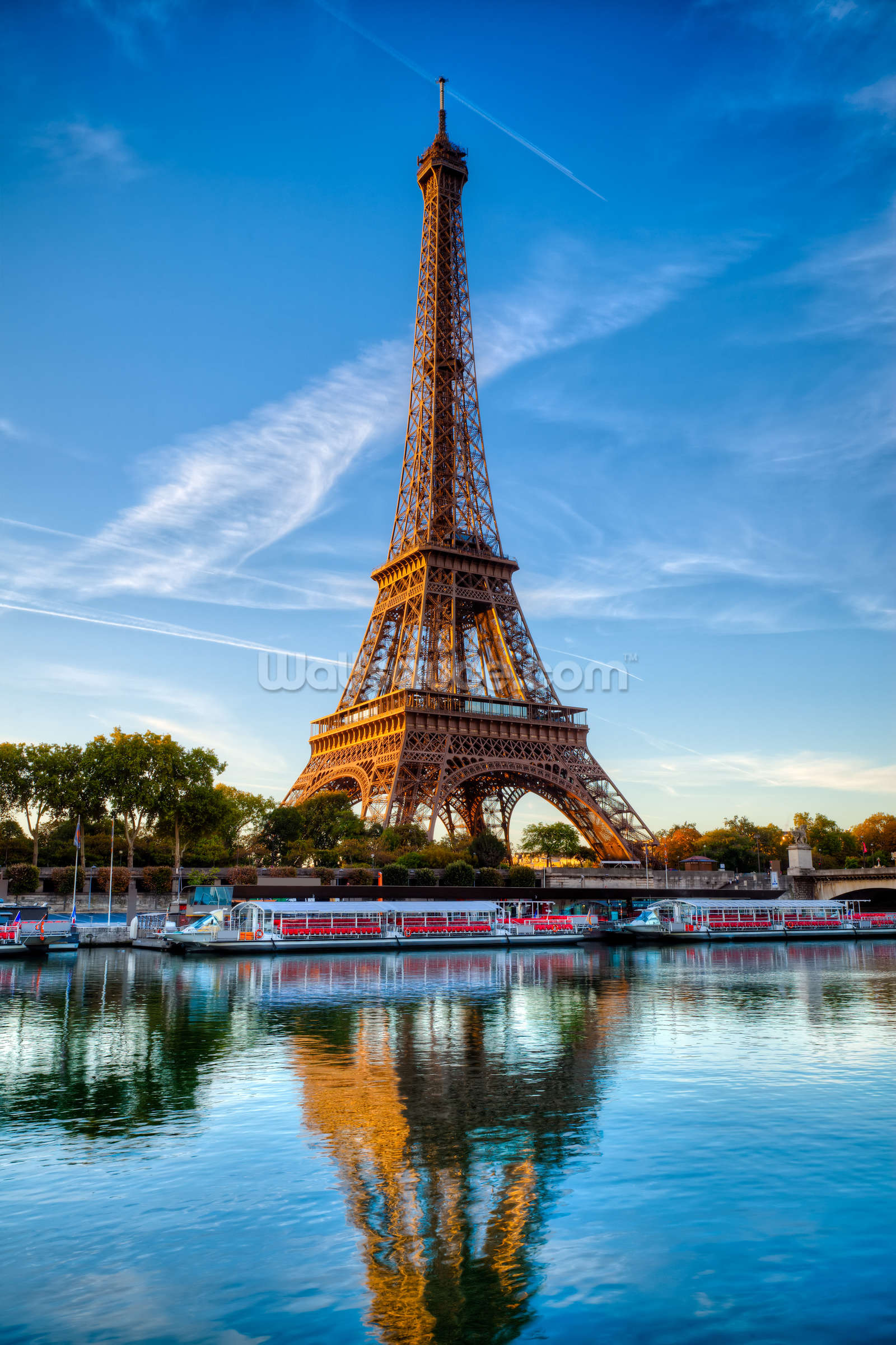 Eiffel Tower Reflection Wall Mural Photo Wallpaper Part 87