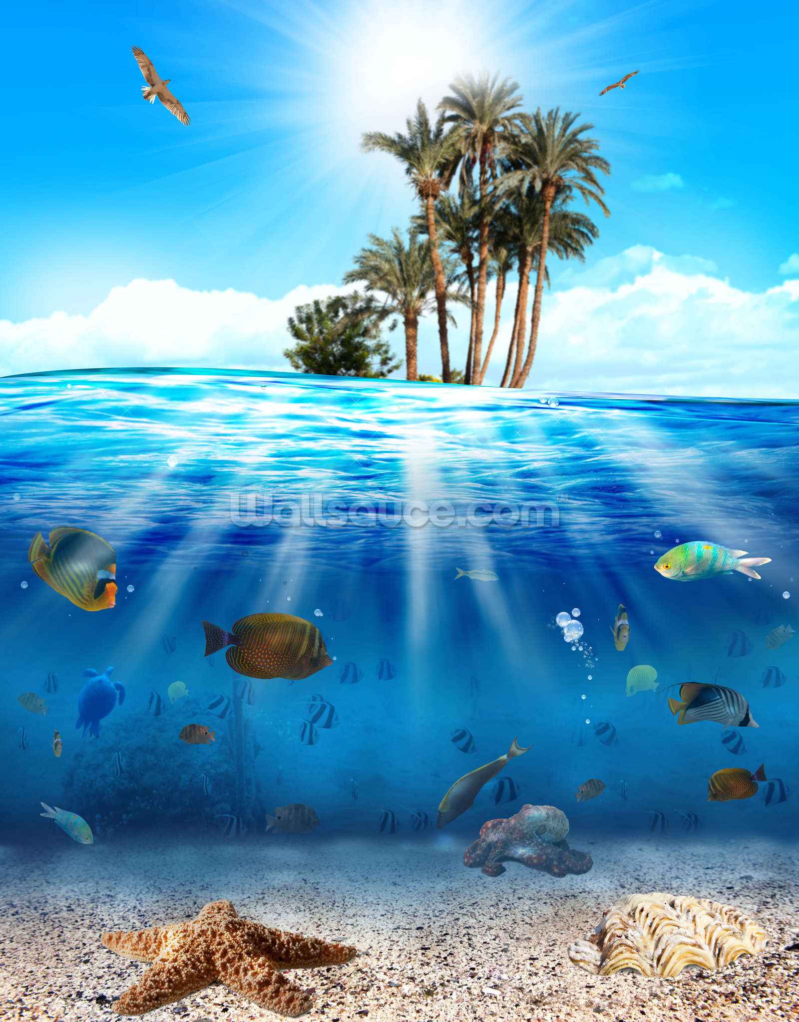 Underwater scene wallpaper wall mural wallsauce usa for Wall scenes
