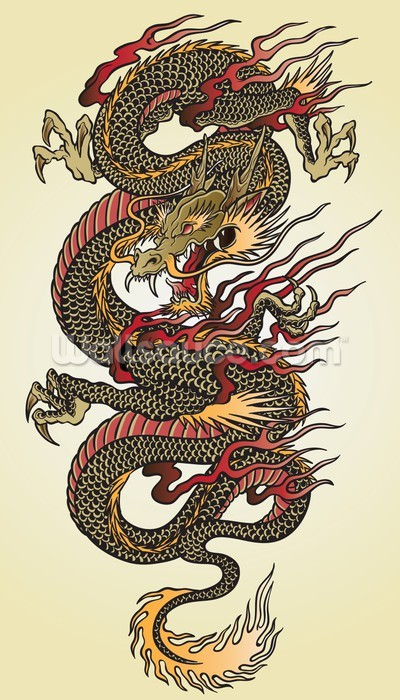 Asian dragon tattoo wallpaper wall mural wallsauce for Dragon mural wallpaper