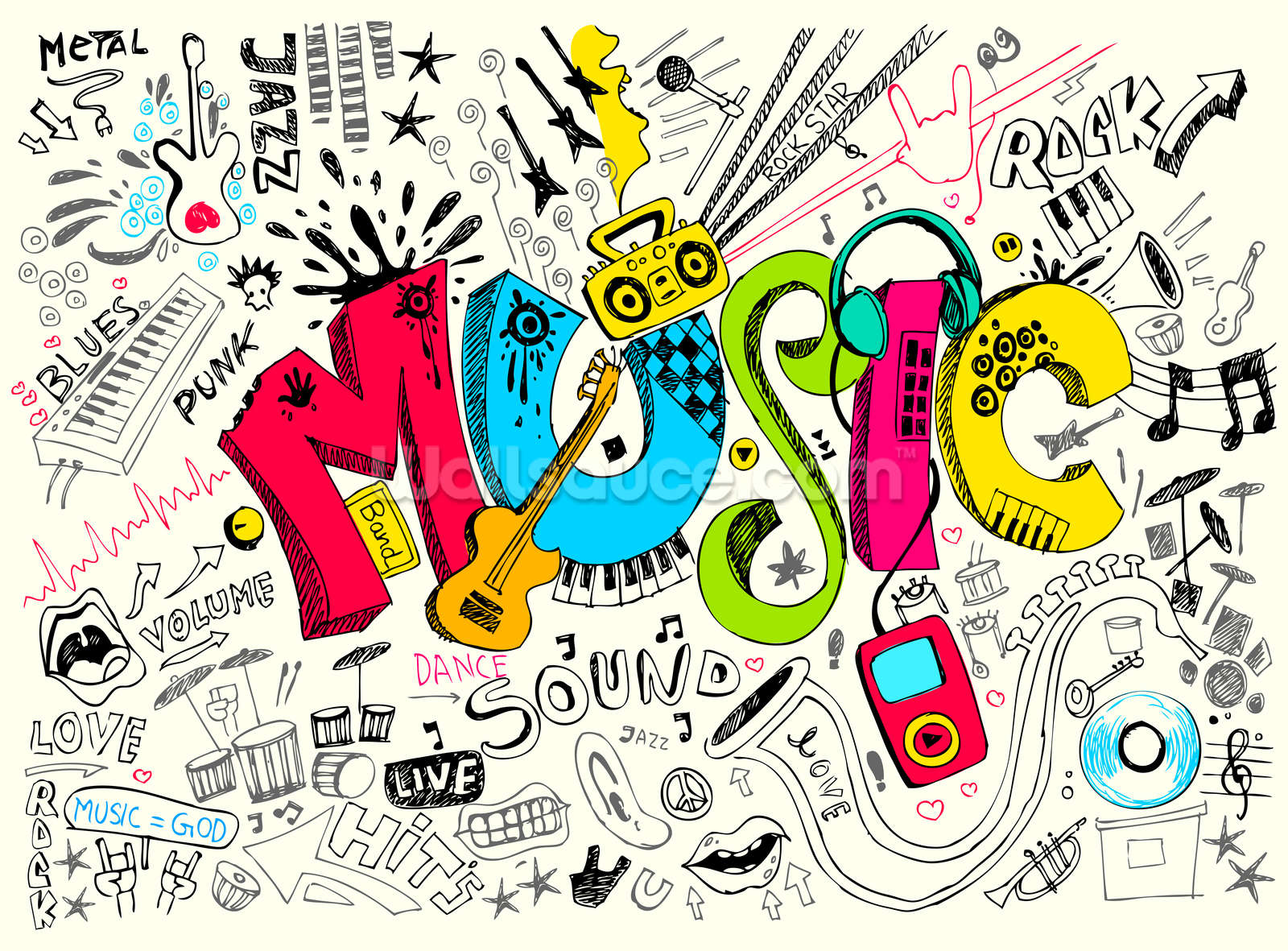 Music Doodle Wallpaper Wall Mural Wallsauce USA