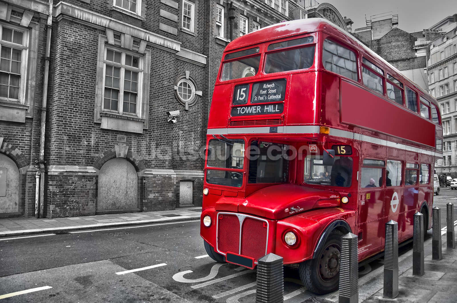 Red london bus wallpaper wall mural wallsauce for Black and white london mural wallpaper