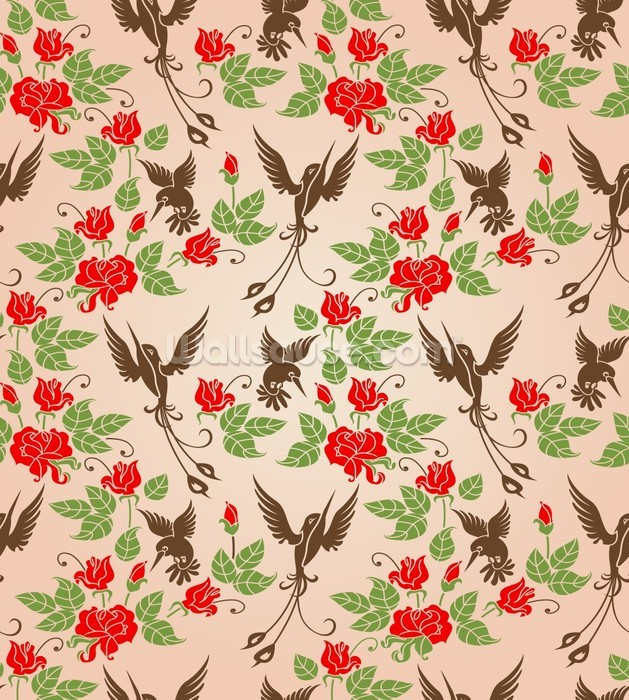 Birds and roses wallpaper wall mural wallsauce for Bird mural wallpaper
