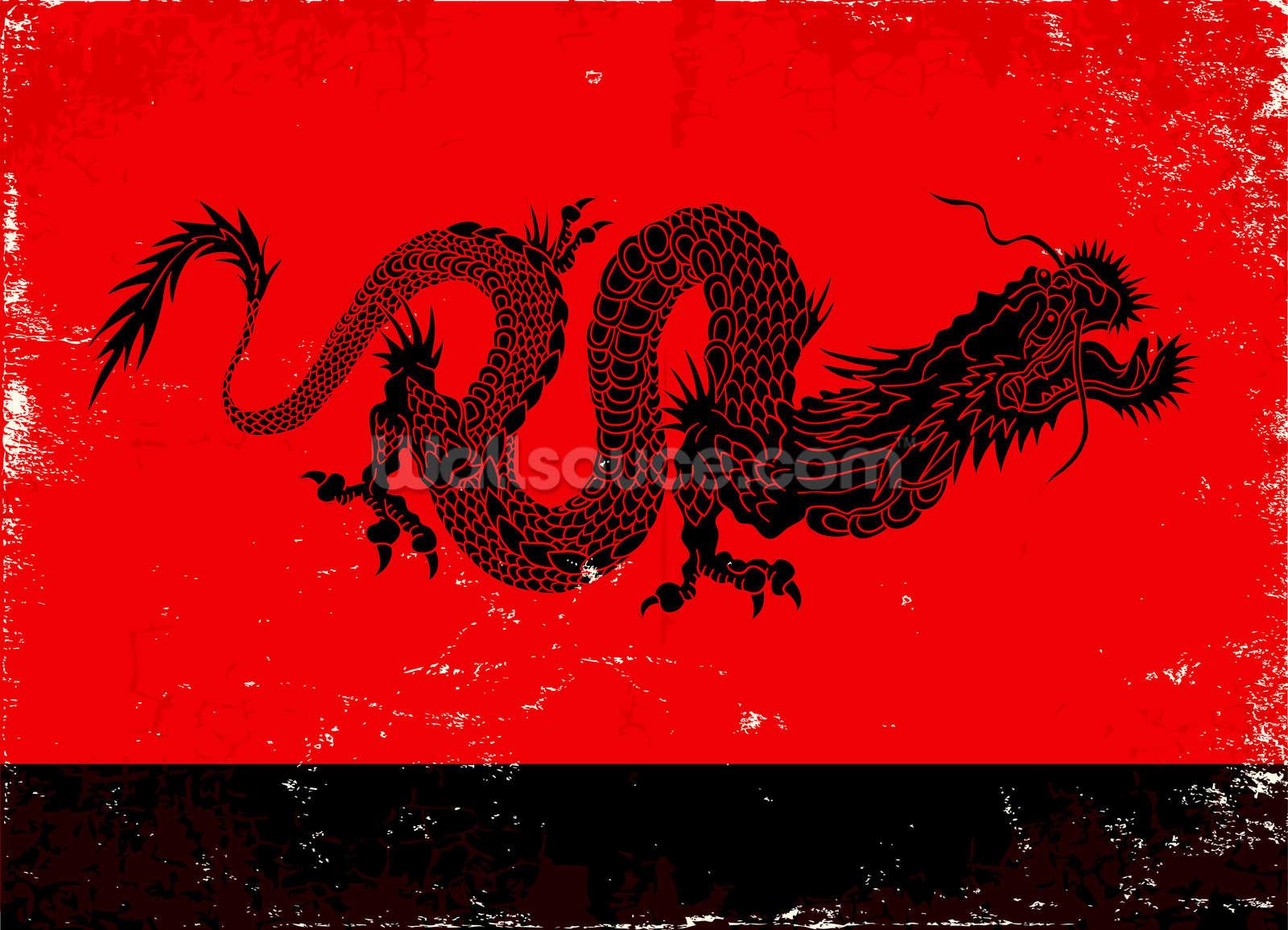 Black dragon wallpaper wall mural wallsauce for Dragon mural wallpaper