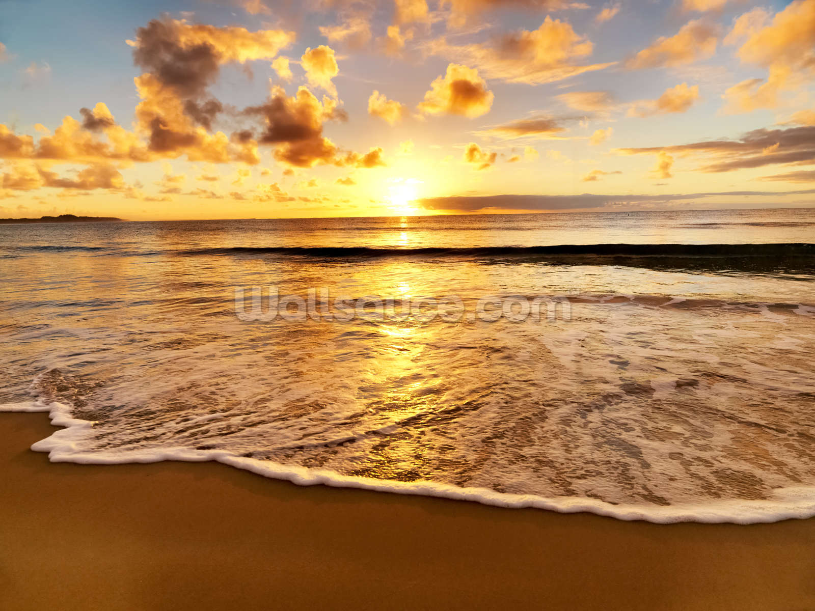 Beach sunset wallpaper wall mural wallsauce usa for Beach sunset mural