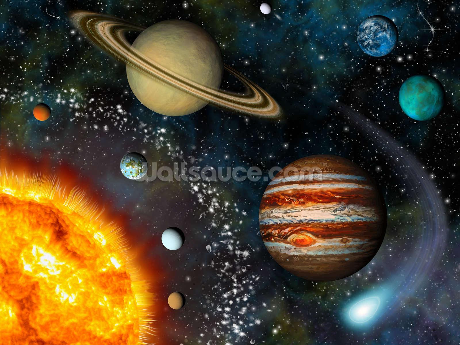 3d Solar System Wallpaper Wall Mural Wallsauce