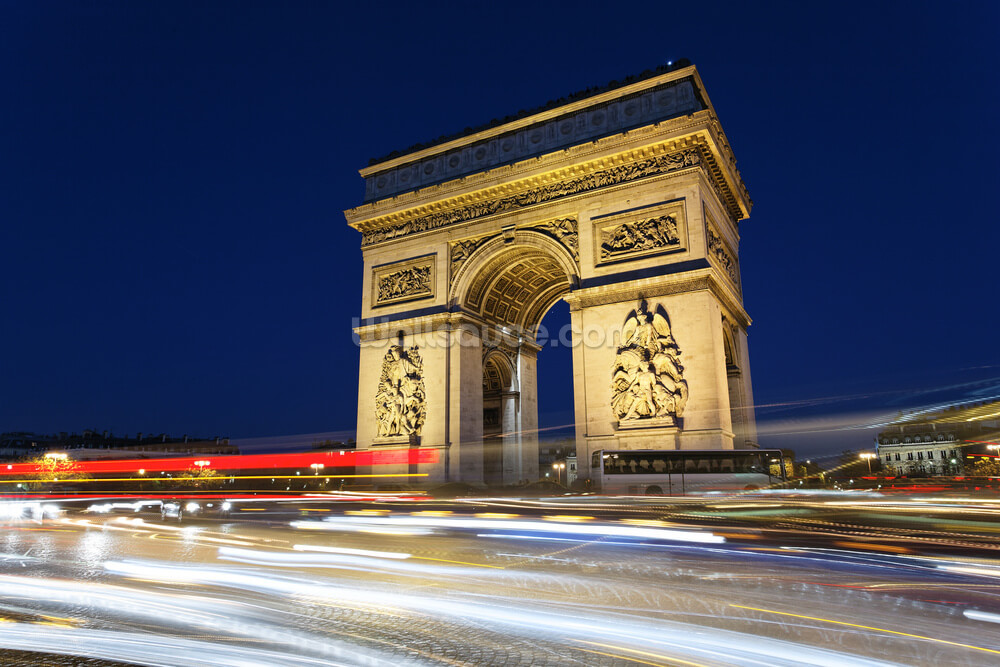Arc de triomphe and car lights wallsauce canada for Arc de triomphe wall mural