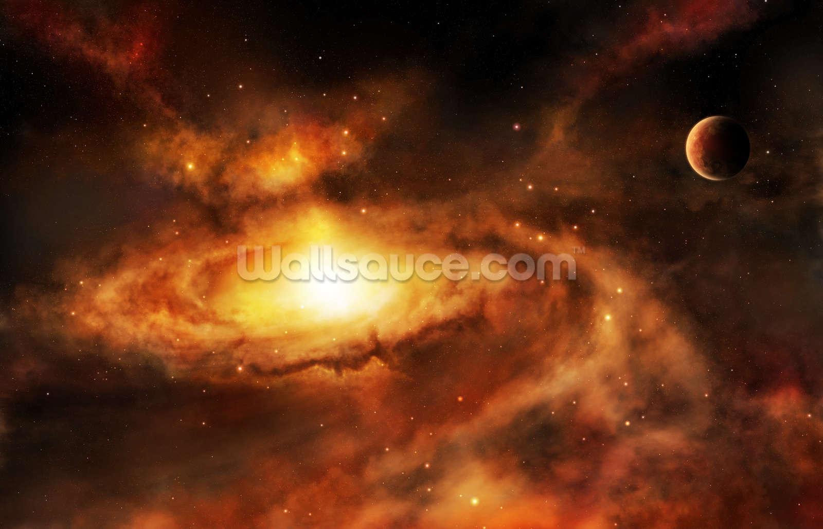 spiral galaxy nebula wallpaper wall mural | wallsauce uk