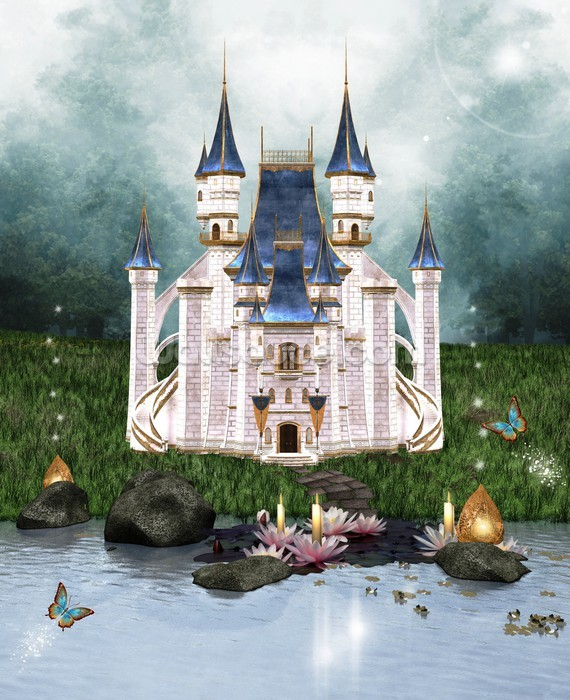 enchanted castle wallpaper wall mural wallsauce usa. Black Bedroom Furniture Sets. Home Design Ideas