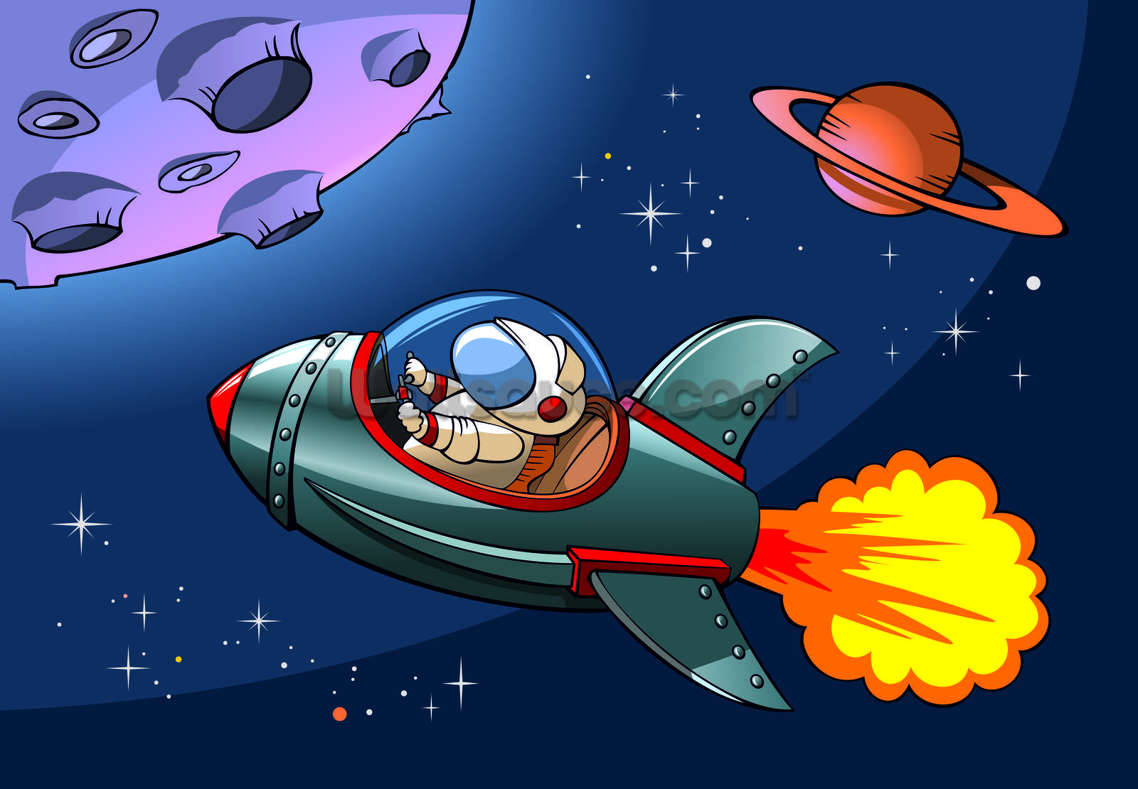Kids Spaceship Wallpaper Mural