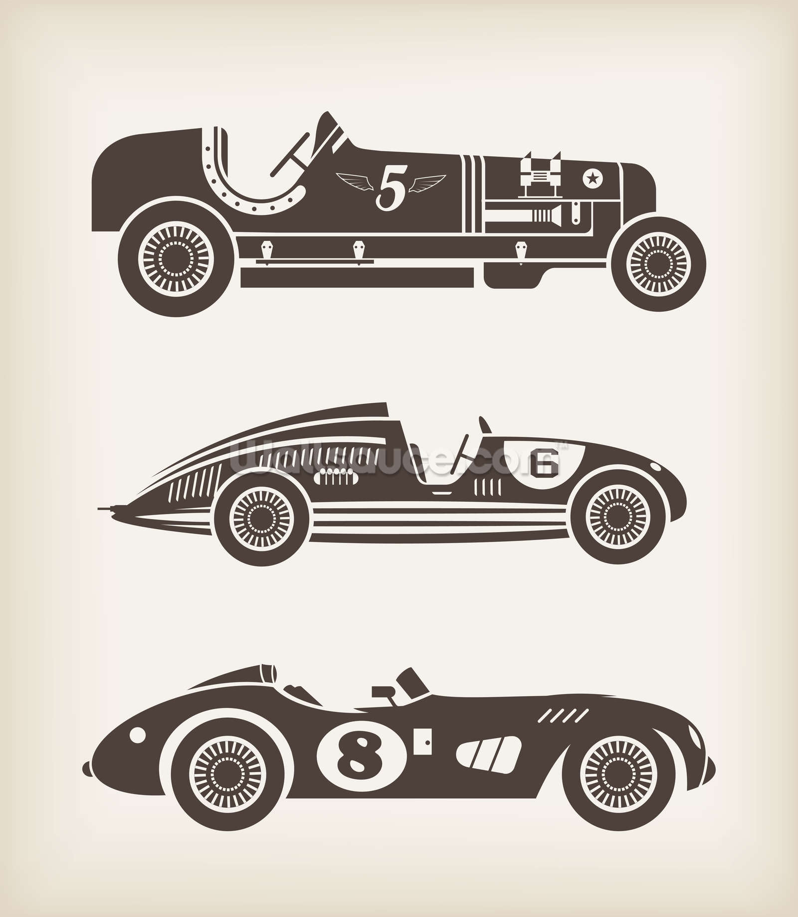 vintage racing wallpaper wall mural wallsauce usa. Black Bedroom Furniture Sets. Home Design Ideas