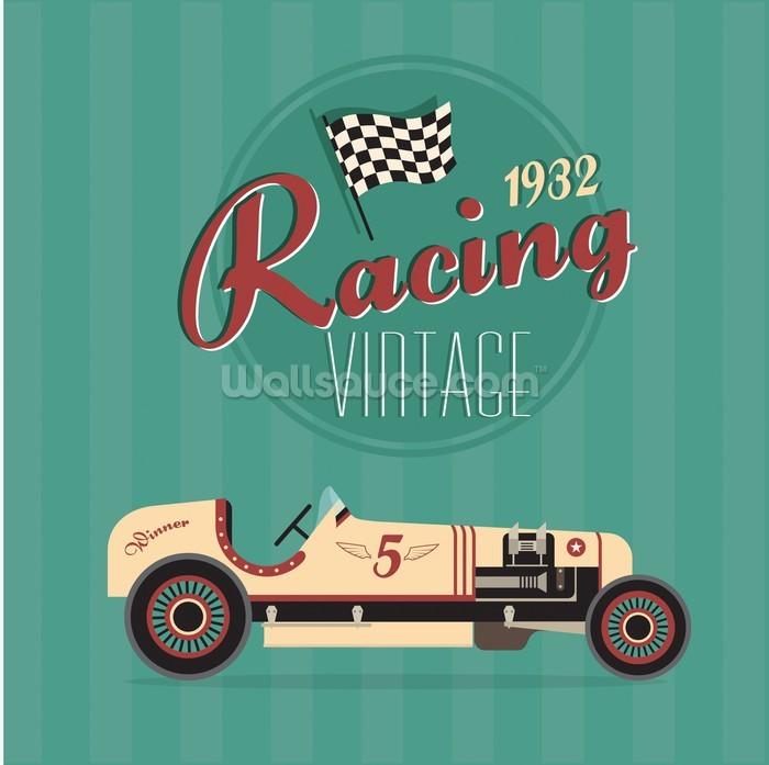 Vintage Racing Car Wallpaper Wall Mural Wallsauce Usa