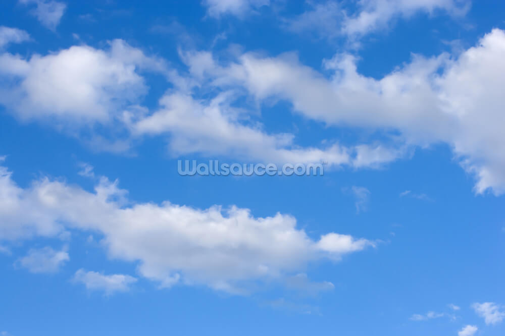blue skies with clouds wallpaper mural | wallsauce usa