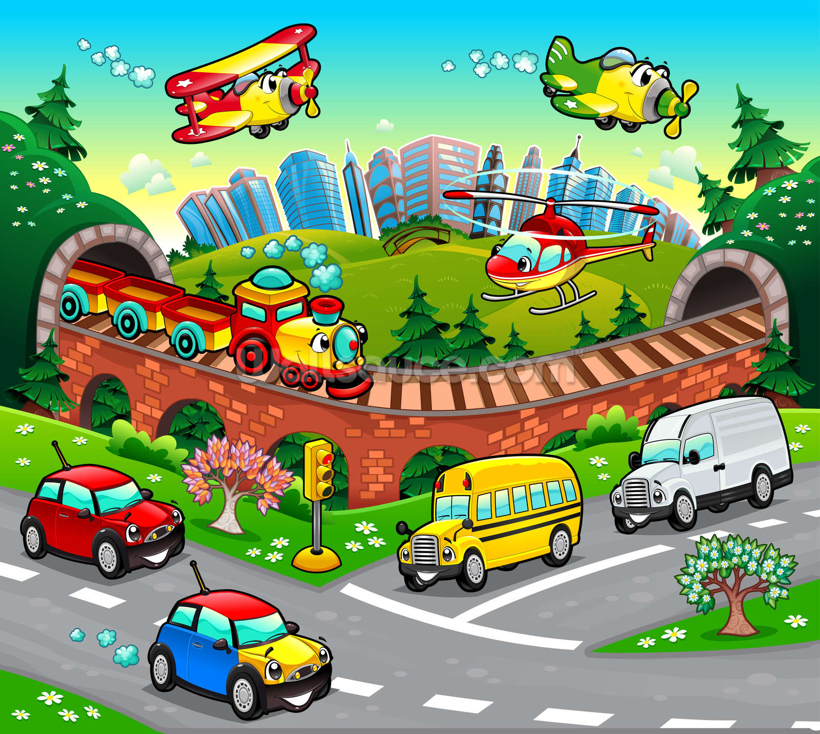 Cartoon road wallpaper wall mural wallsauce usa for Cartoon mural wallpaper