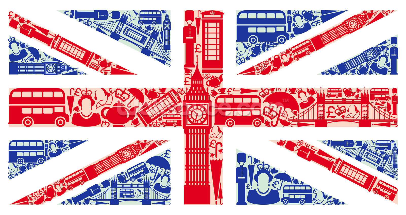 union jack montage wallpaper wall mural wallsauce uk. Black Bedroom Furniture Sets. Home Design Ideas