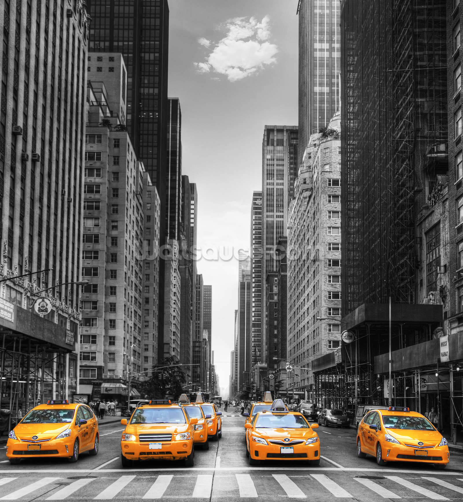New york yellow taxis wall mural wallpaper wallsauce for Black and white new york mural wallpaper