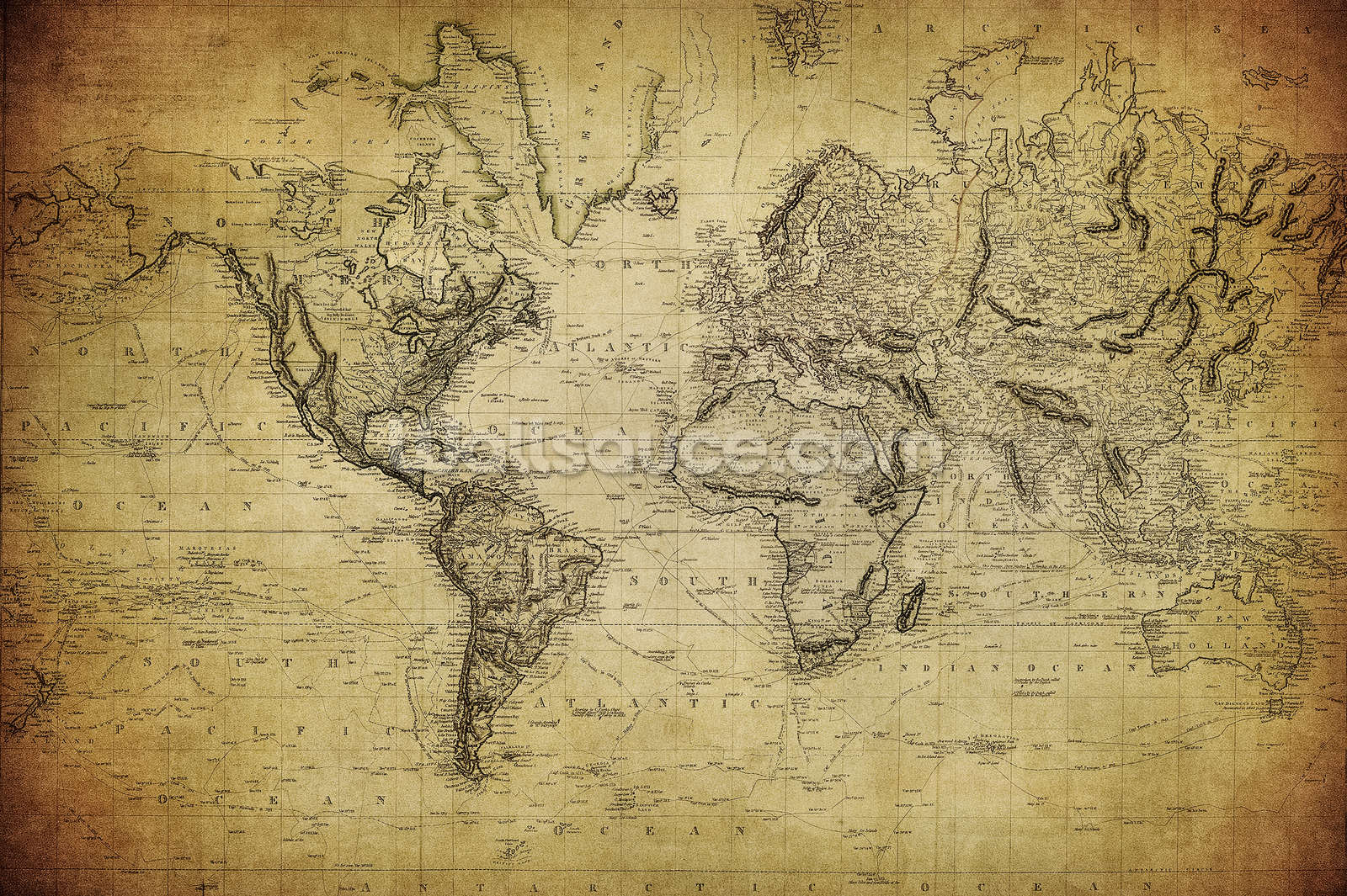 19th Century Vintage Map Wallpaper Mural | Wallsauce UK