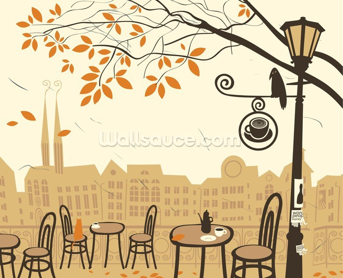 Street cafe wallpaper wall mural wallsauce new zealand for Cafe mural wallpaper