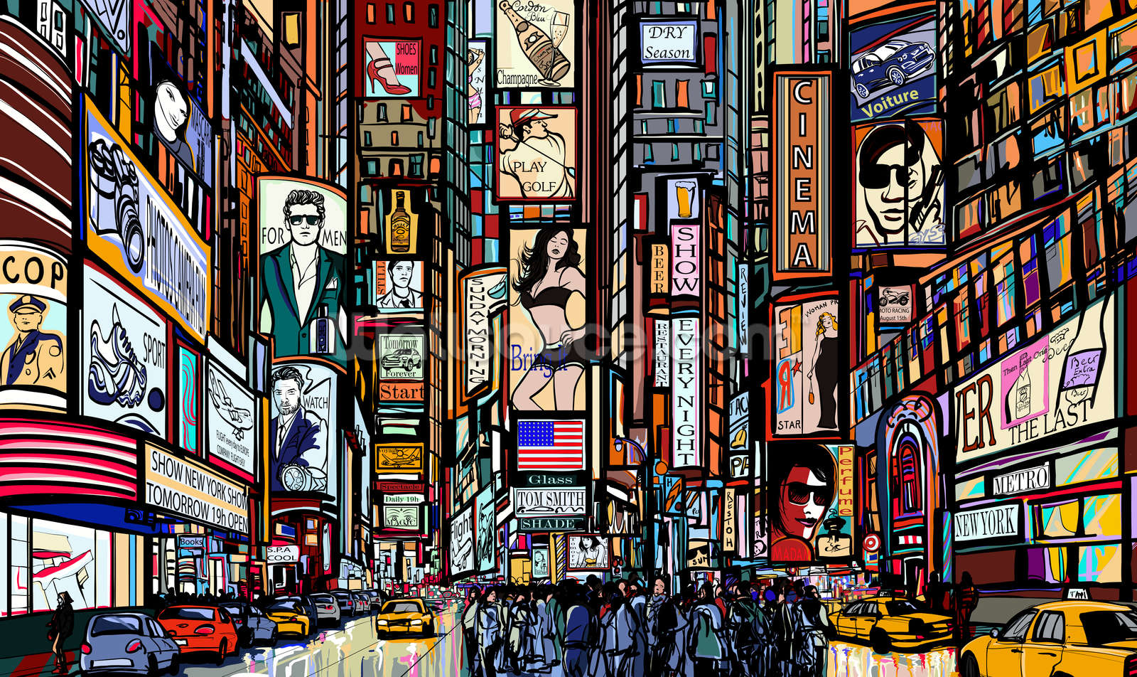 Times Square Abstract Wallpaper Mural