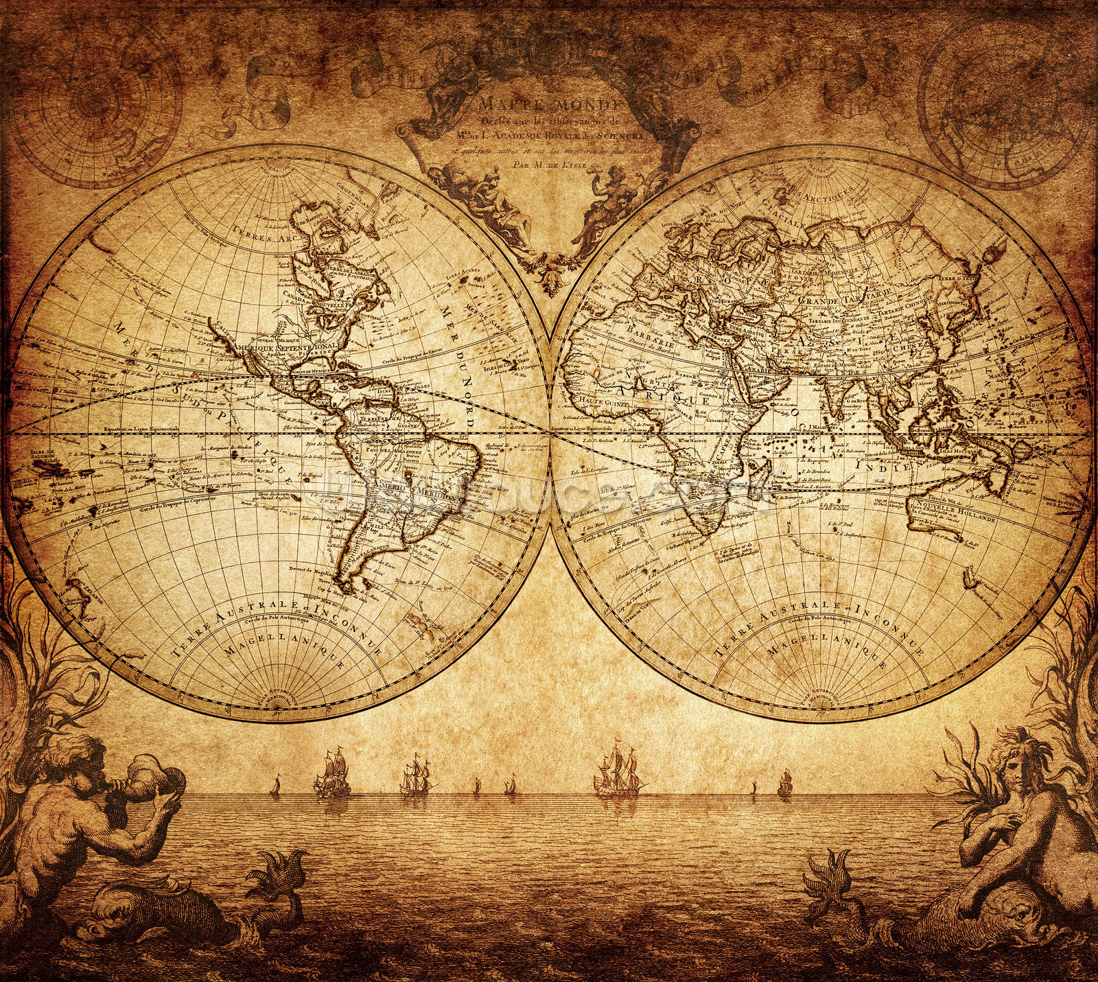 18th Century World Map Wall Mural Photo Wallpaper Part 48