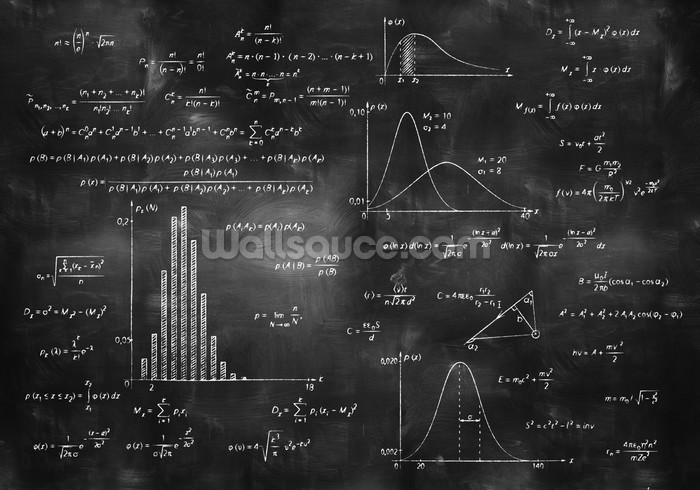 Math Physics Formulas On Chalkboard Mural Wallpaper