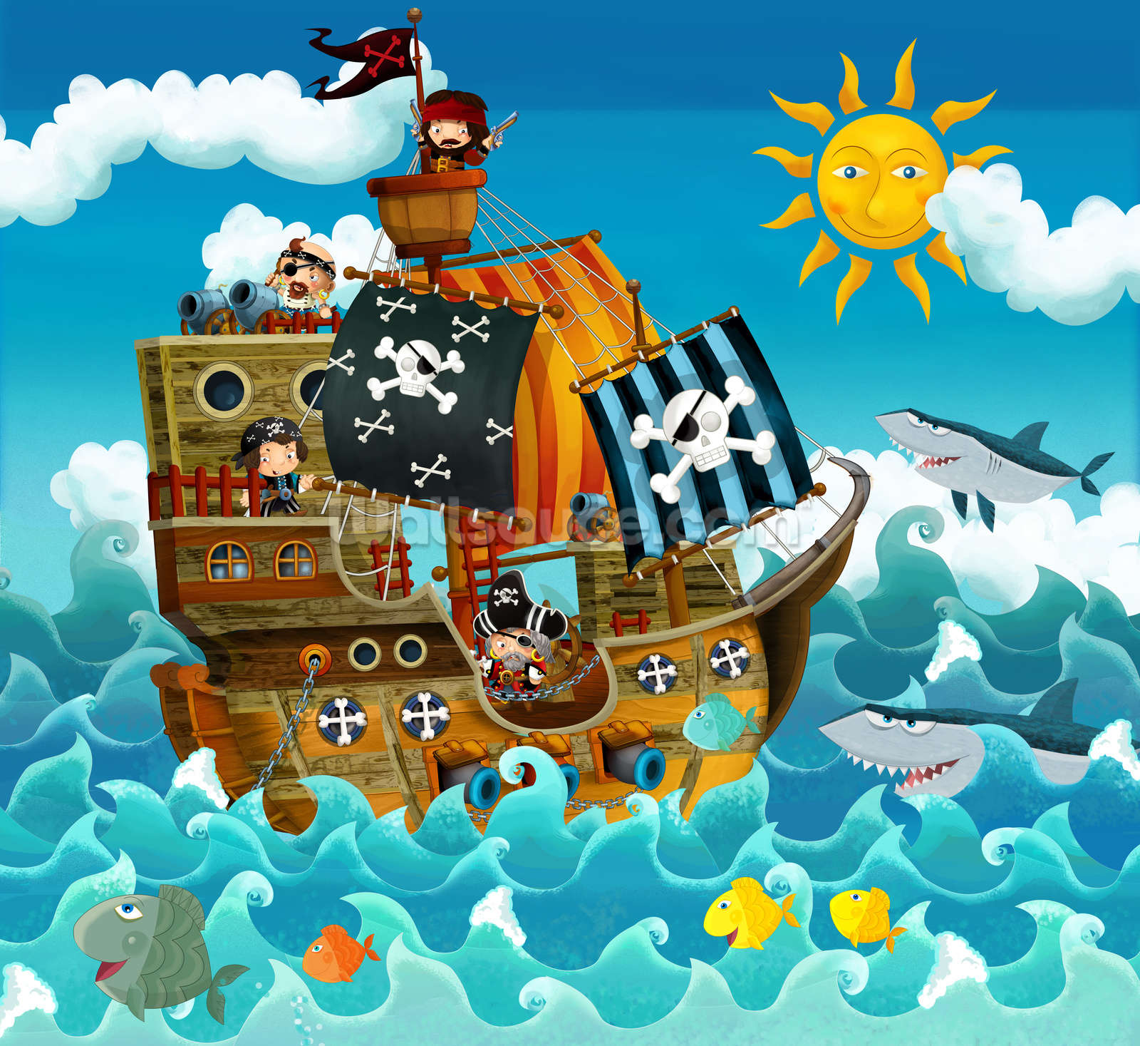 Kids Wallpaper: Children's Pirates Mural