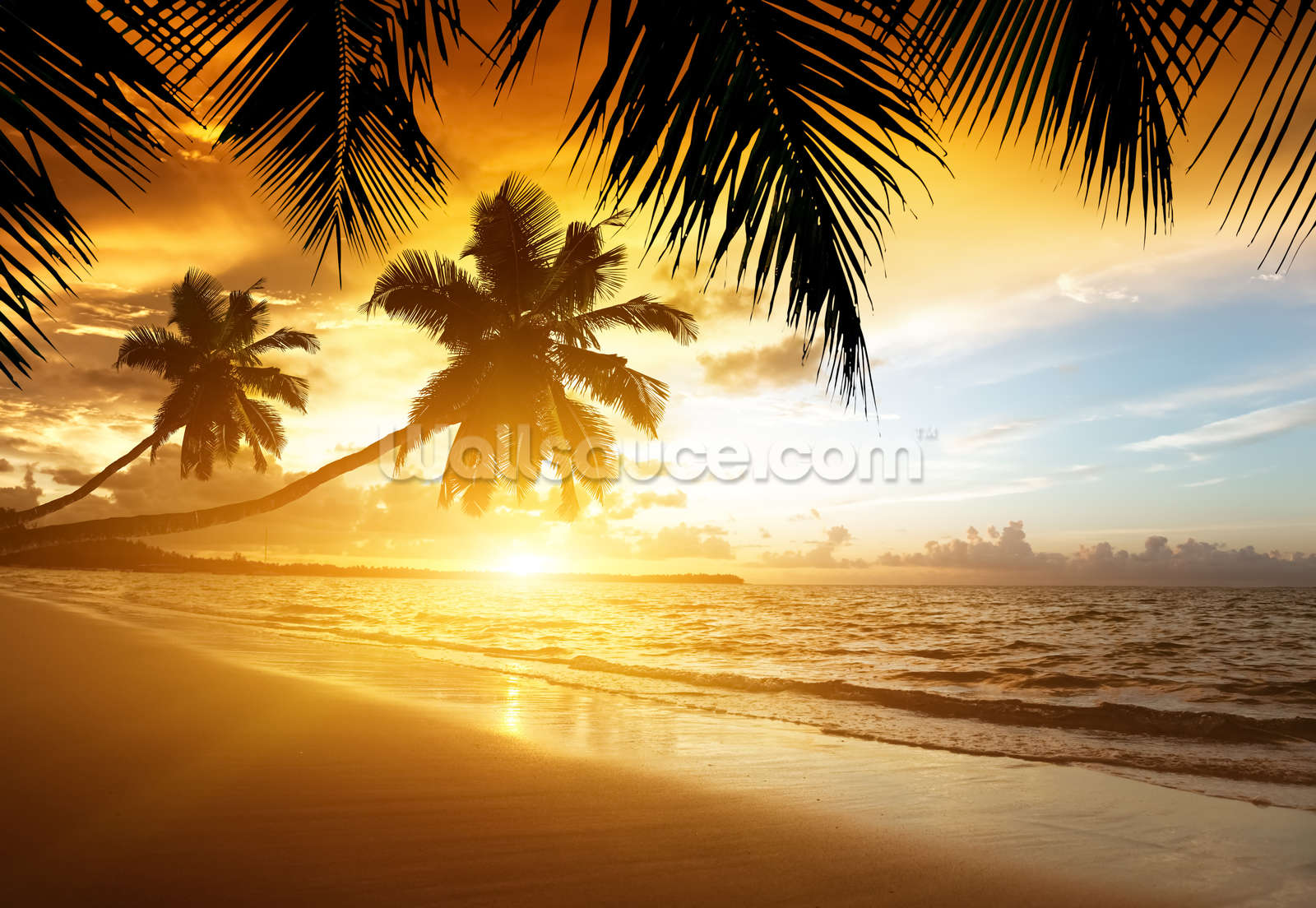 Caribbean sunset wallpaper wall mural wallsauce for Beach sunset mural