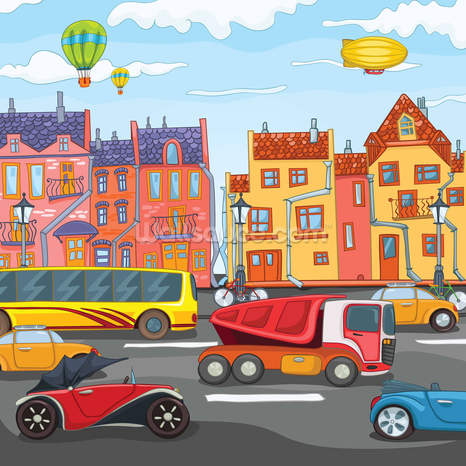 Cartoon city wallpaper wall mural wallsauce denmark for Cartoon mural wallpaper