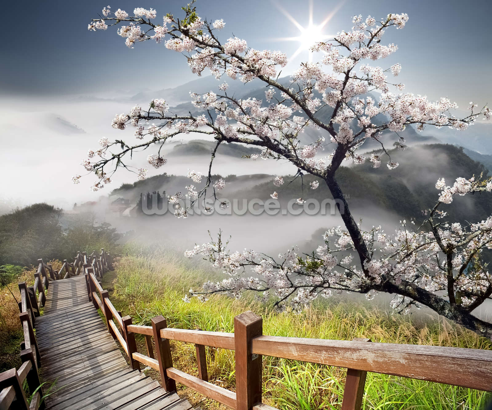 Japanese walkway wallpaper wall mural wallsauce for Asian wallpaper mural