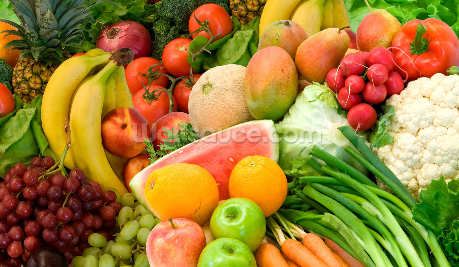 Vegetables and Fruits Arrangement Wallpaper Wall Mural ...